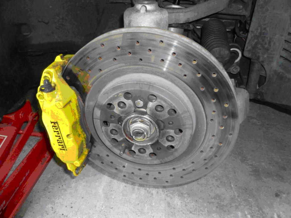 Brake Rotor Material : Ferrari f front brake pad and disc change